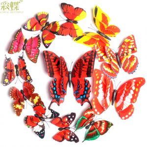 3D Artificial Butterfly Stickers | Creative 2-tier Decals for Home Decor