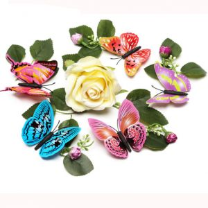 Creative PVC Butterfly 3d Wall Stickers | 8cm Artificial Butterfly Décor Decals for Rooms