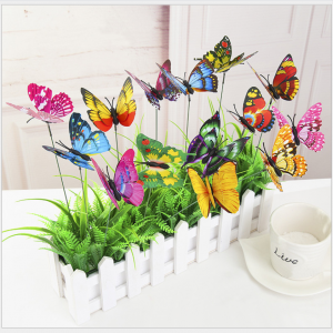 3D Inserted-Pole Simulation Butterflies | Mixed-color Plastic Butterflies for gardening decoration