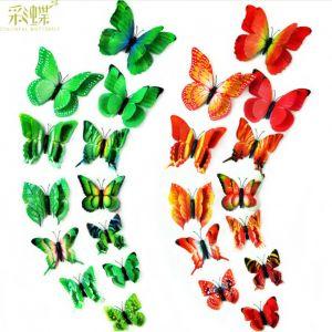 Creative 3D Decorative Butterflies  6-Color, 2-tier Artificial Butterflies for Fridges & Rooms