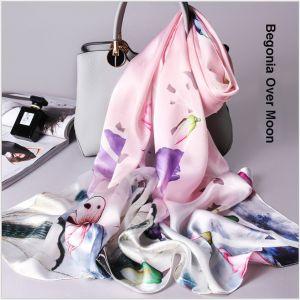 Begonia printed silk scarves