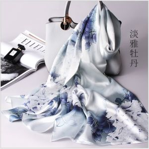 peony printed silk scarves