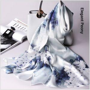 custom printed silk scarves in elegant peony, women silk scarf shawls