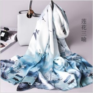 Lotus Women Silk Scarves, Custom Printed Scarves