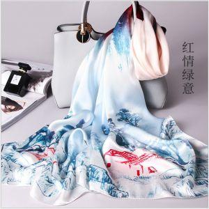 landscape womens silk scarves, custom printed scarves
