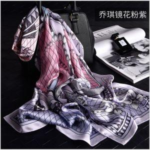 Women Georgette Scarf Shawls in pink & purple, Custom Printed Silk Scarves