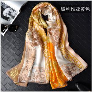 Bolivian Yellow Silk Scarf Shawls, Custom Printed Silk Scarves
