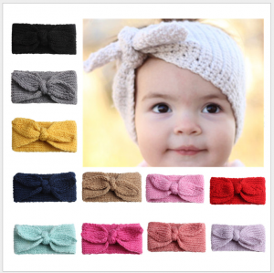 Cute rabbit-ear baby headbands with knitting earmuffs, Woolen yarn baby headbands