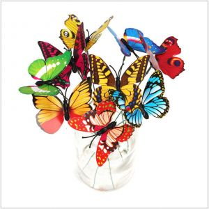 Inserted Pole Artificial Butterflies Accessories for Flower Arrangement in vase