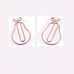 shaped paper clips in pear outline, custom paper clips in pear shape.