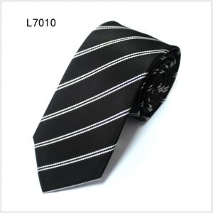 white twill black polyester ties