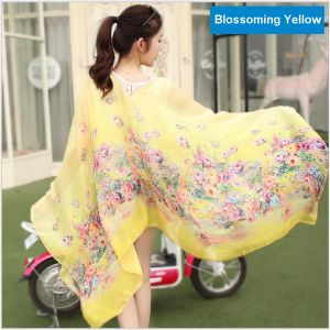 Sand Beach Silk Scarves, Sun-Proof Shawls Cloaks for Riding