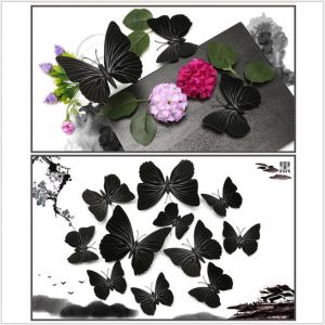 Solid-color Black Artificial Butterflies | Creative Decoration for wall and headwear