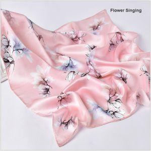 square silk scarves in flower singing, custom printed silk scarves