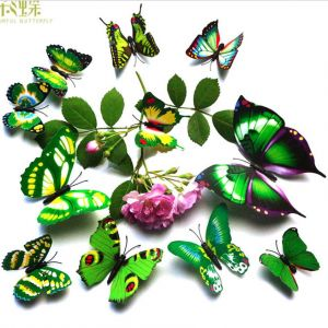 1-tier Artificial Butterflies Decals | Creative Butterfly Stickers for TV background Rooms Fridges
