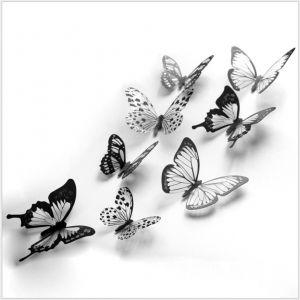 3D Artificial Black & White Butterflies | Artificial Butterfly Stickers for Walls & Home Décor