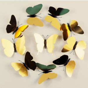 Golden Butterflies Wall Decals | 3d PVC Butterfly Stickers for Home & Shopwindow Decor
