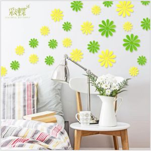 3D Solid-color Sunflower Wall Decals | Creative Stickers for Preschool Kids Rooms