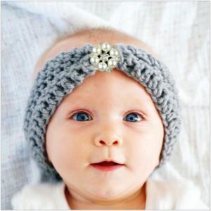 Cute Bohemian Knitting Baby Headbands, Diamond Kids Hair Ornaments, Baby Woolen-Yarn Turban Headgear