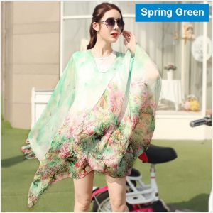 Sand Beach Silk Scarves In Spring Green