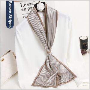 silk ribbon scarf in brown stripes, custom printed silk scarves