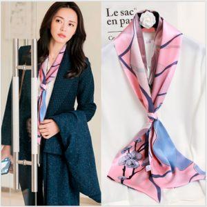 silk ribbon scarf in spring sakura pink, custom printed scarves