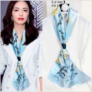 silk ribbon scarf in water blue, custom printed silk scarves
