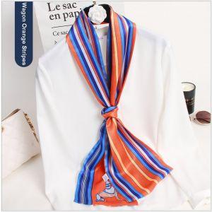 silk riband scarves ribbons in wagon orange stripes