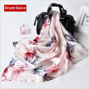 square silk scarves in drunk dance, custom printed scarves