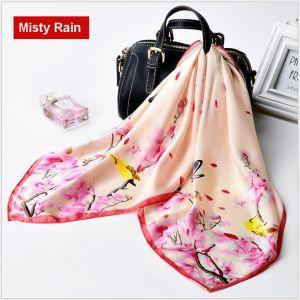 square silk scarves in misty rain, custom printed scarves