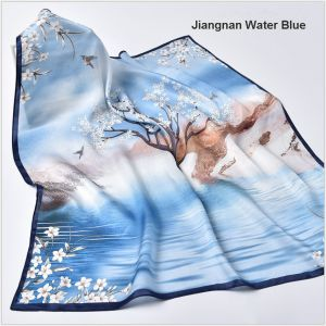 square silk scarves in Jiangnan Water Blue, custom silk scarves