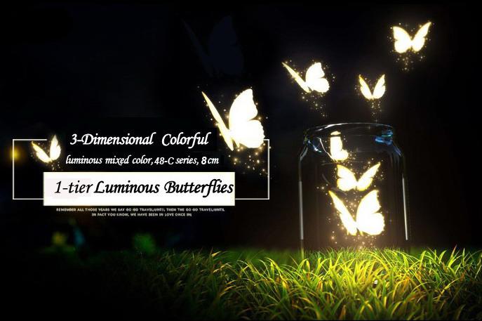 3d butterfly wall stickers, artificial luminous butterflies